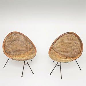 fauteuils corbeilles en rotin